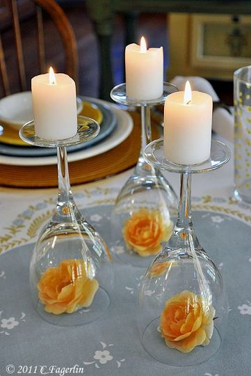 Simple Wedding idea of the day. How cute does this candle + flowers combo look? Swing by the shop to...