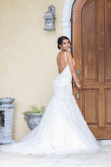 Full display of the wedding dress