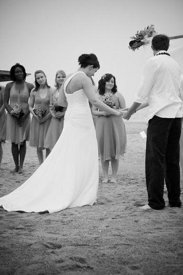 Prayer during a beach ceremony