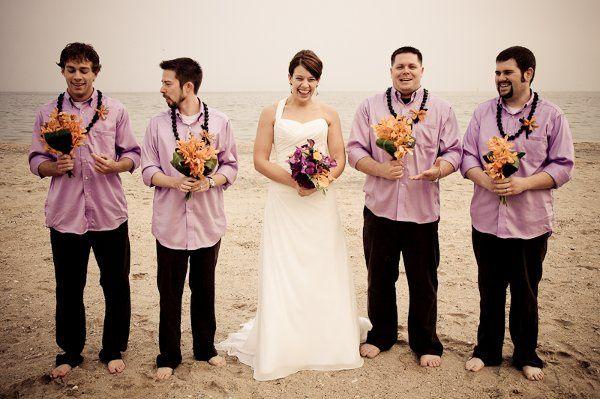 Groomsmen & Bride group photo on North Beach