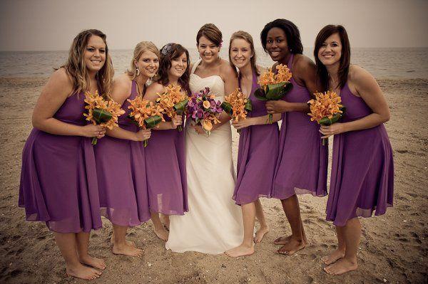 Bridesmaids & Bride group photo on North Beach