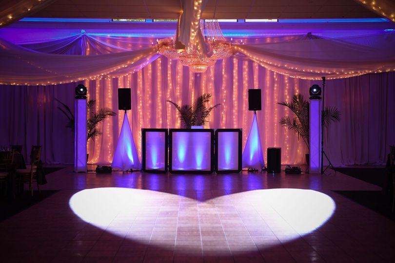 DJ booth and backdrop lighting
