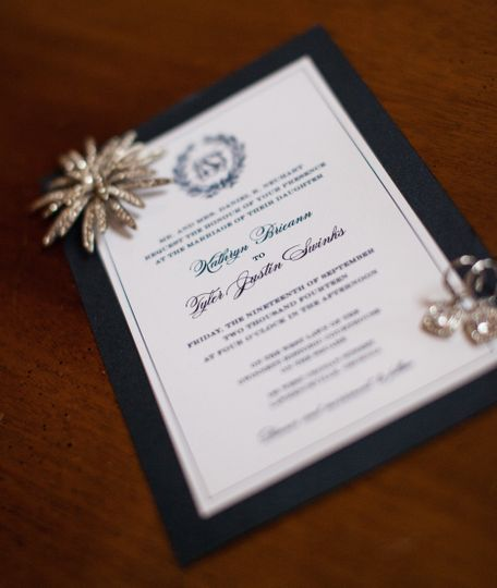We designed this custom wedding invitation suite from start to finish, including embossed...