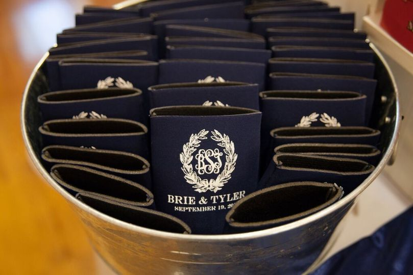 We designed and printed these koozies as favors for the guests.