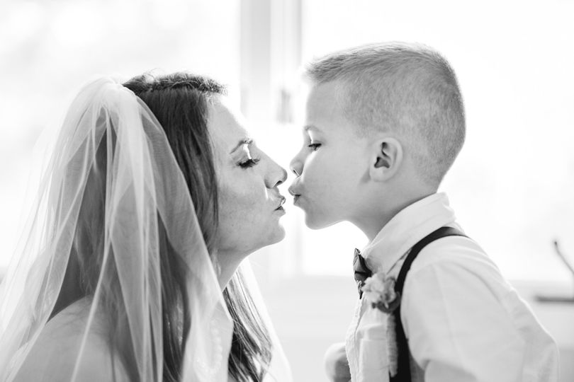 A pre-wedding kiss from the bride