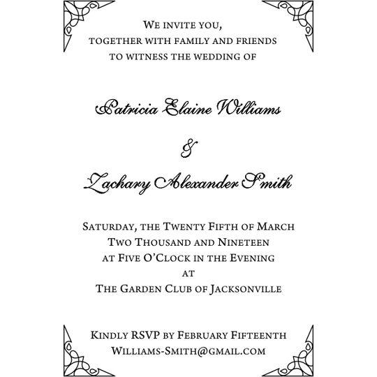 Formal invitation details