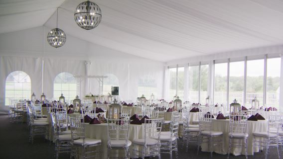 Tmx Bogeys Clear Chairs Purple Napkins Full 51 605313 Sewell, NJ wedding venue