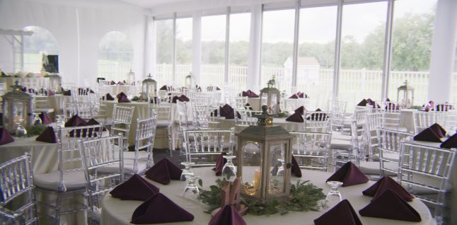 Tmx Bogeys Clear Chairs Purple Napkins 51 605313 Sewell, NJ wedding venue
