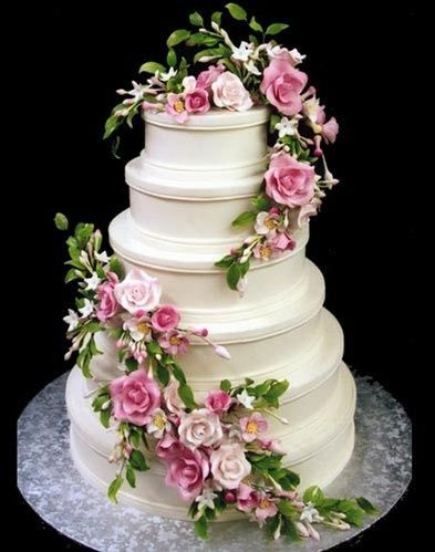 Asymmetrical Wedding Cake 6 Tier Floral