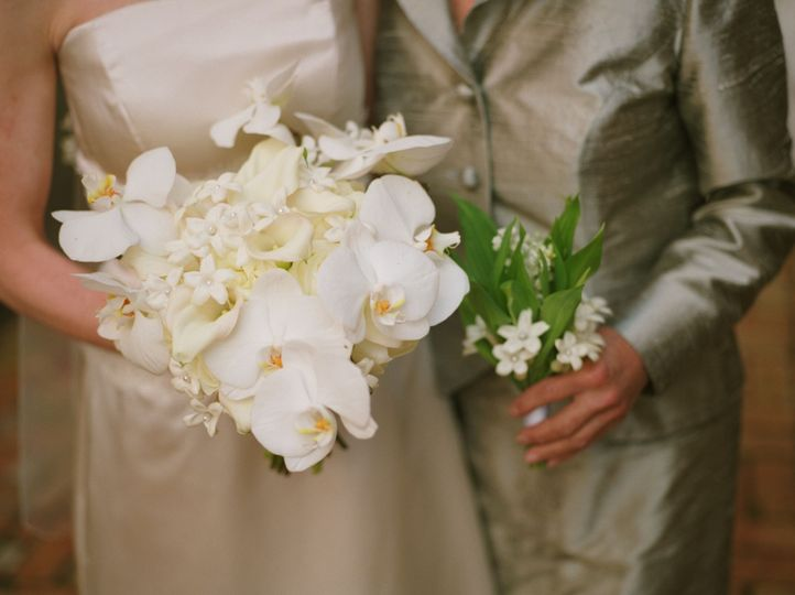 Bride and her mother's flowers