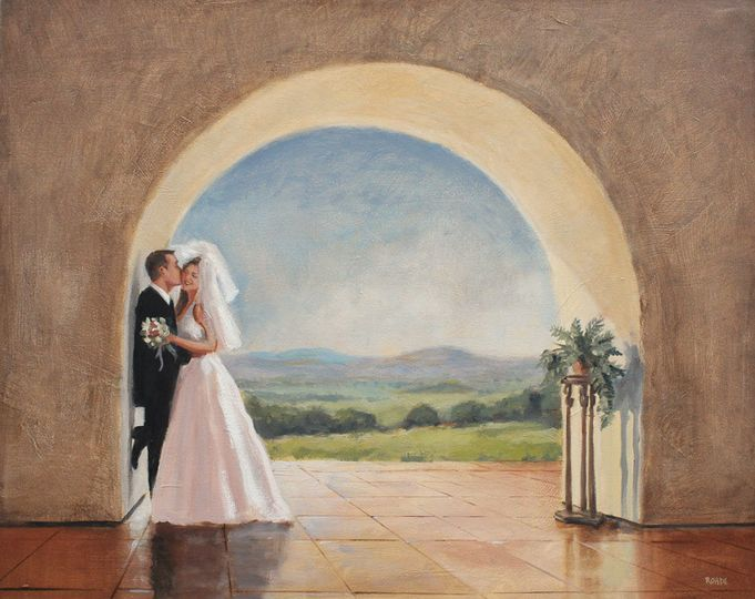 Couple by an arch