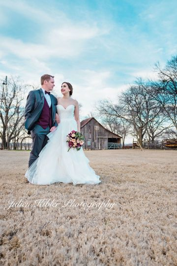 Winter wedding near the barn!
