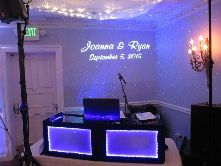 Monogram light with your name and wedding date.