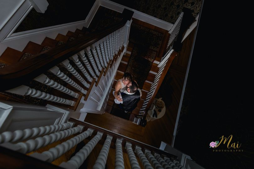Couple on the grand staircase