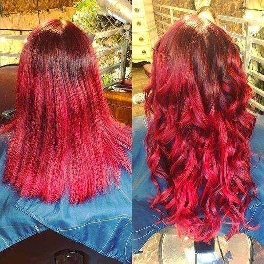 Hair coloring and curling