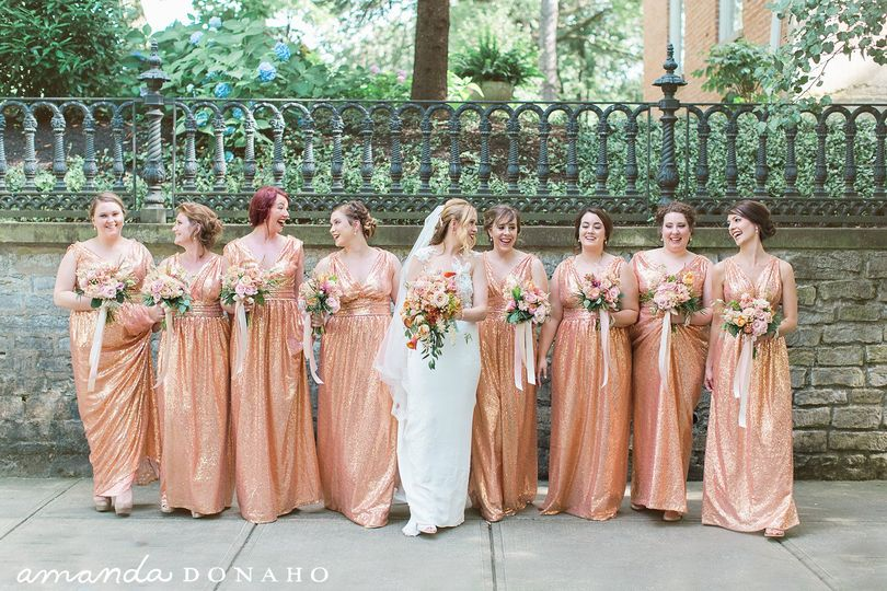 Copper apricot bouquets gown