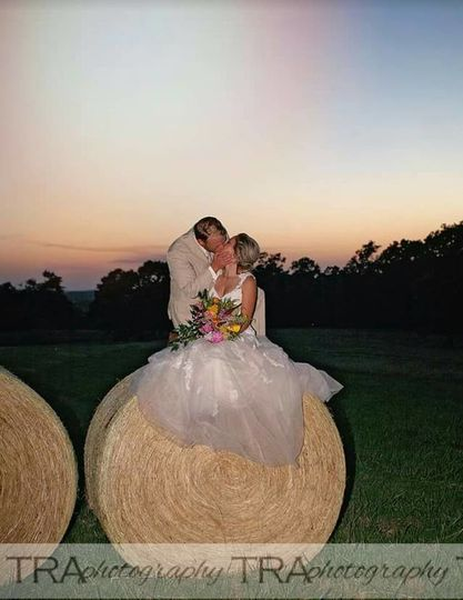 Couple photo on a haystack