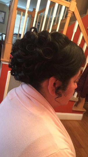 Side view of updo