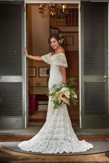 Off-shoulder wedding dress