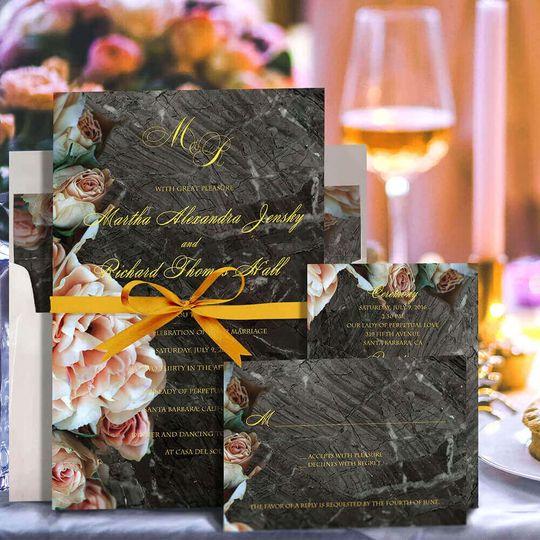 Marble Rose Invitation suite
