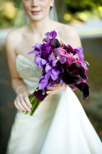 purple calla, purple aranda orchids and purple roses bridal bouquet