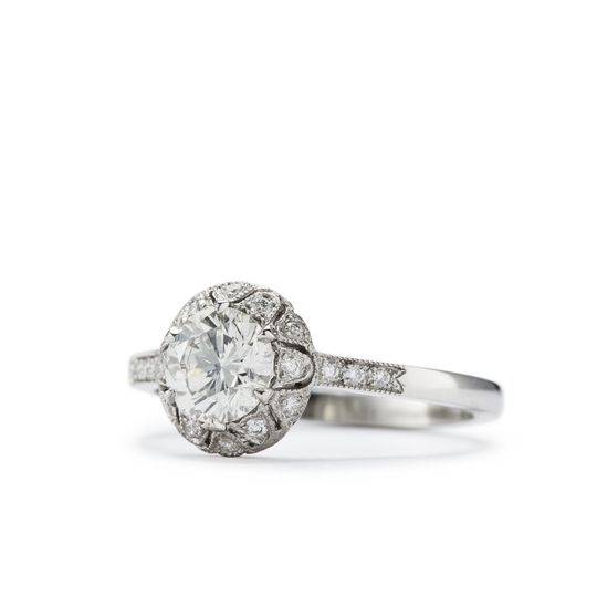 freesia antique style filigree engagement ring