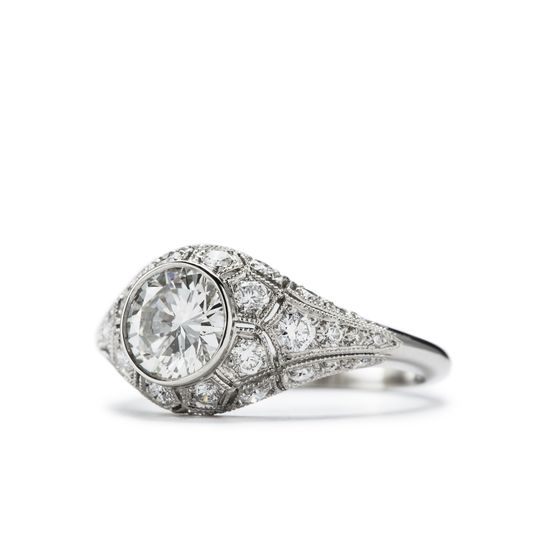 honeycomb antique style engagement ring