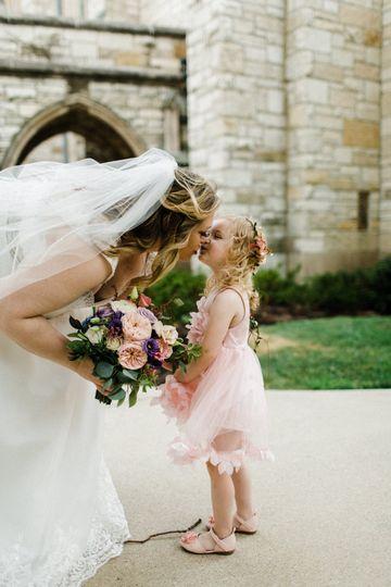 Kiss for the flower girl
