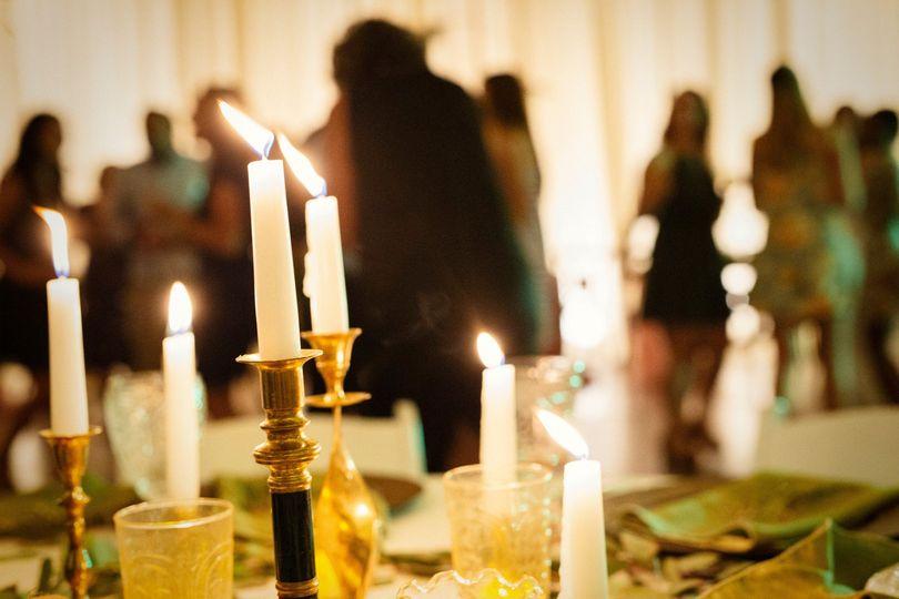 Eclectic brass candlesticks.