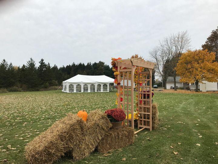 Wedding arbor with fall decor