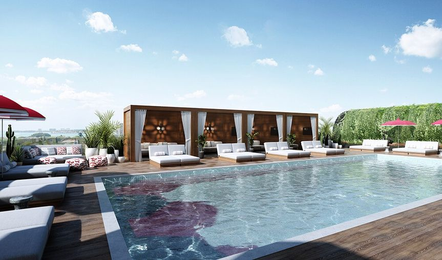 Tranquil rooftop pool