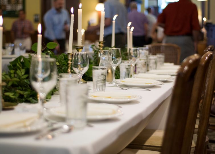 Table setting in Main Hall