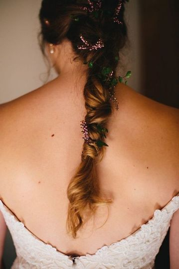 Long flowered bridal braid