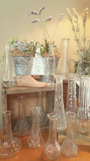 Accent decor/Bud Vases, clear & milk glass  (100) 50¢-$2.00 Venue pictured: Simply Graced Rental...
