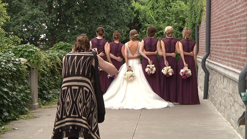 Bridesmaids all in a row