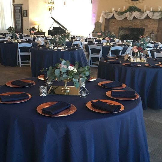 Rich navy table linen