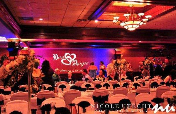 Up lighting, and custom monogram at Rock Gardens in Green Bay, WI