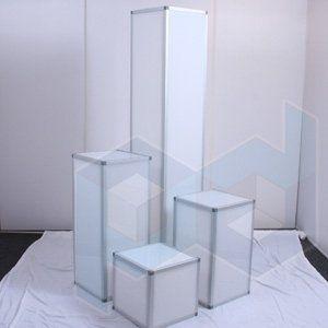 Lighted acrylic pillars for rental. Dream Lighting Company