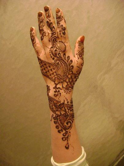 Henna design on hand.