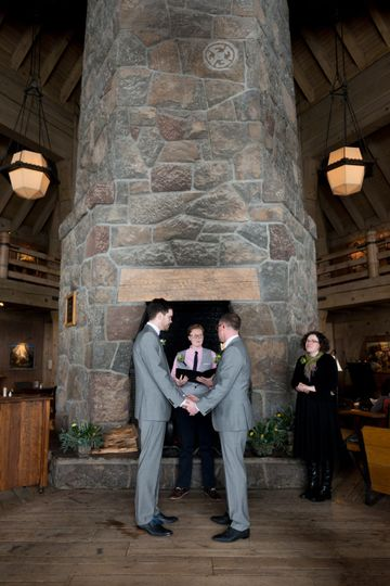 Ceremony before the stone hearth