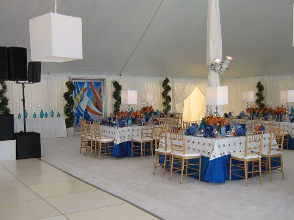 Inside a 50'x70' Navi-Trac frame tent with a tent liner. Nantucket, MA