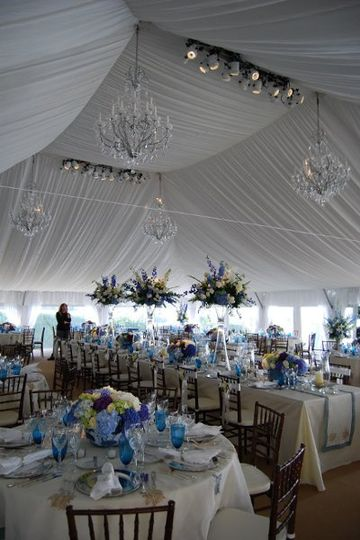 Inside a 20'x40' Navi-Trac frame tent with a clear tent top, Cafe String Lighting. Beach House...
