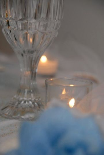 Table centerpiece with candlelit