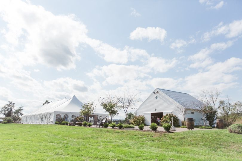 Tent, back patio and barn