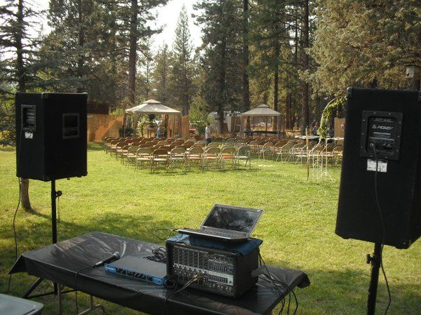 Basic outdoor setup for just a wedding reception. Second sound system can be available to amplify...