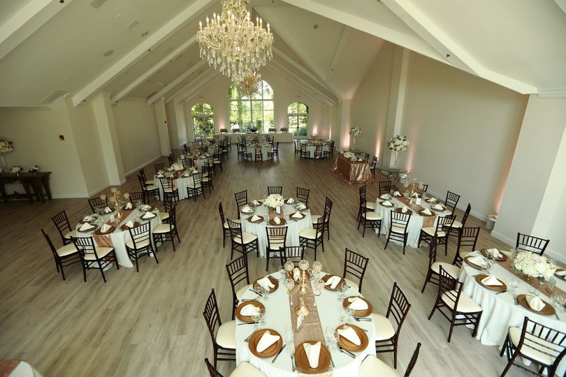 Ballroom set for a dinner reception