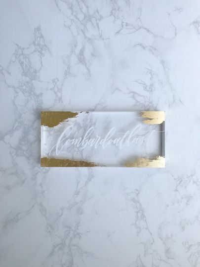 Gold leaf acrylic hashtag sign