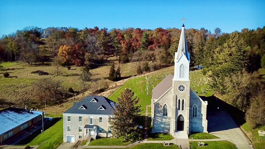 Drone footage of church