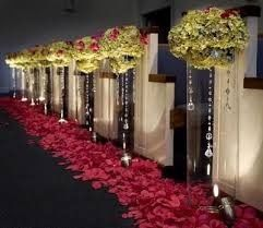 Floral aisle markers and petal lining
