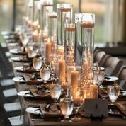 Long table setup with candle setup